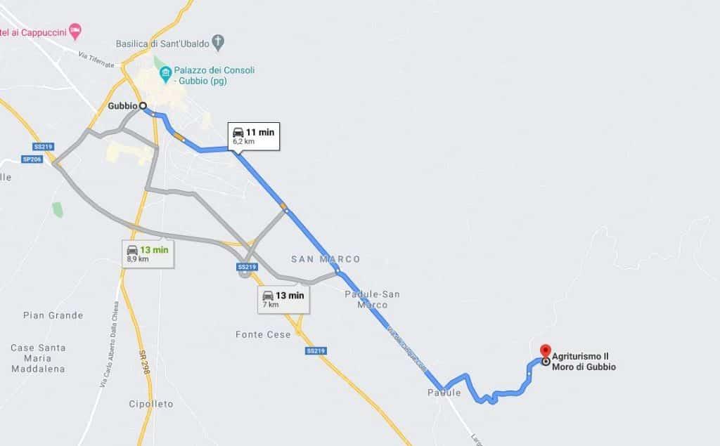 Mappa che individua la distanza tra Gubbio e l'Agriturismo Il Moro, in cui ha sede l'Allevamento Thai Ridgeback Dog Italia
